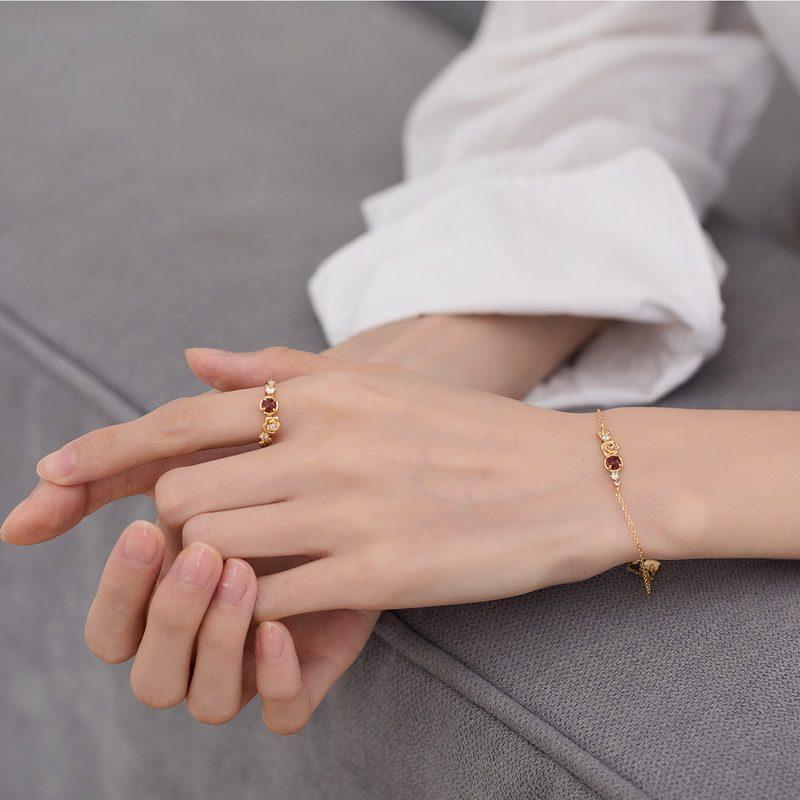 Nhẫn bạc mạ vàng đính đá Zircon Rose LILI_212546-09