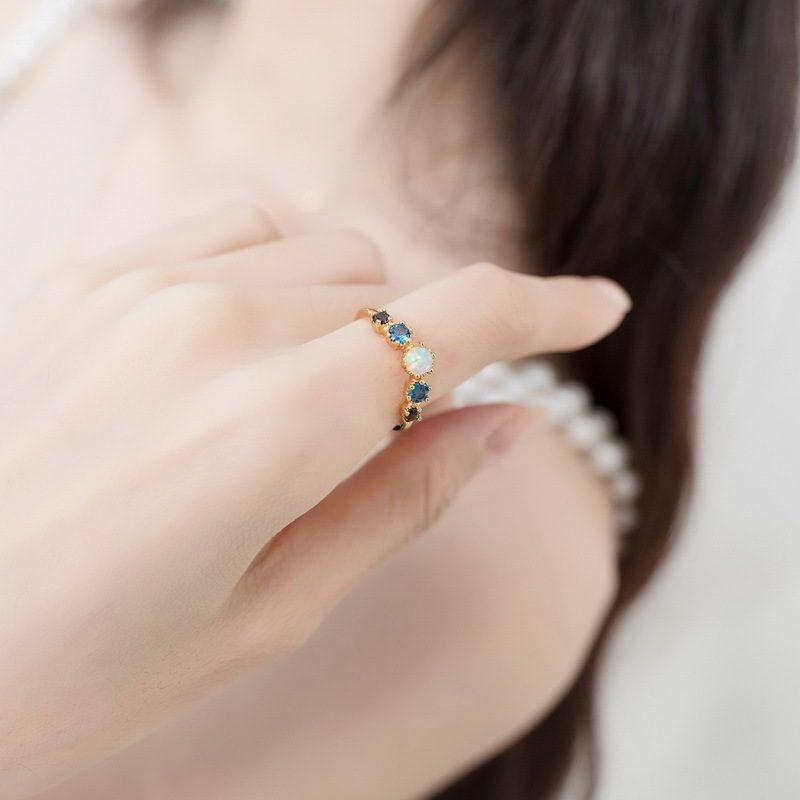Nhẫn bạc mạ vàng đính đá Zircon đa sắc LILI_998648-01
