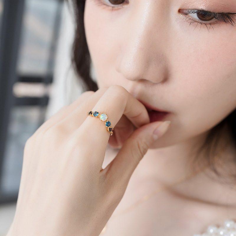 Nhẫn bạc mạ vàng đính đá Zircon đa sắc LILI_998648-02