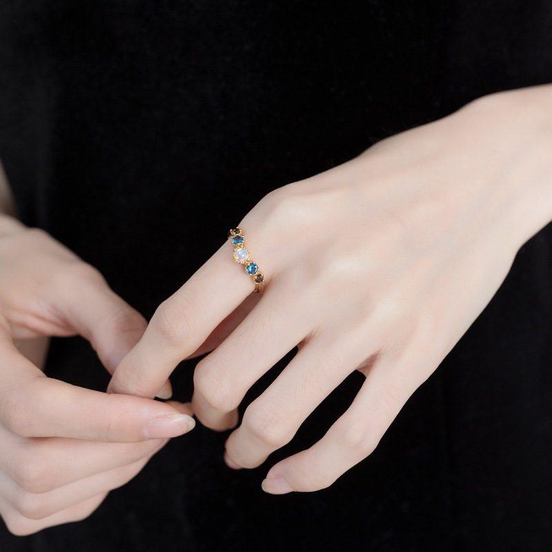 Nhẫn bạc mạ vàng đính đá Zircon đa sắc LILI_998648-03