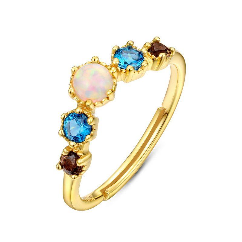 Nhẫn bạc mạ vàng đính đá Zircon đa sắc LILI_998648-04