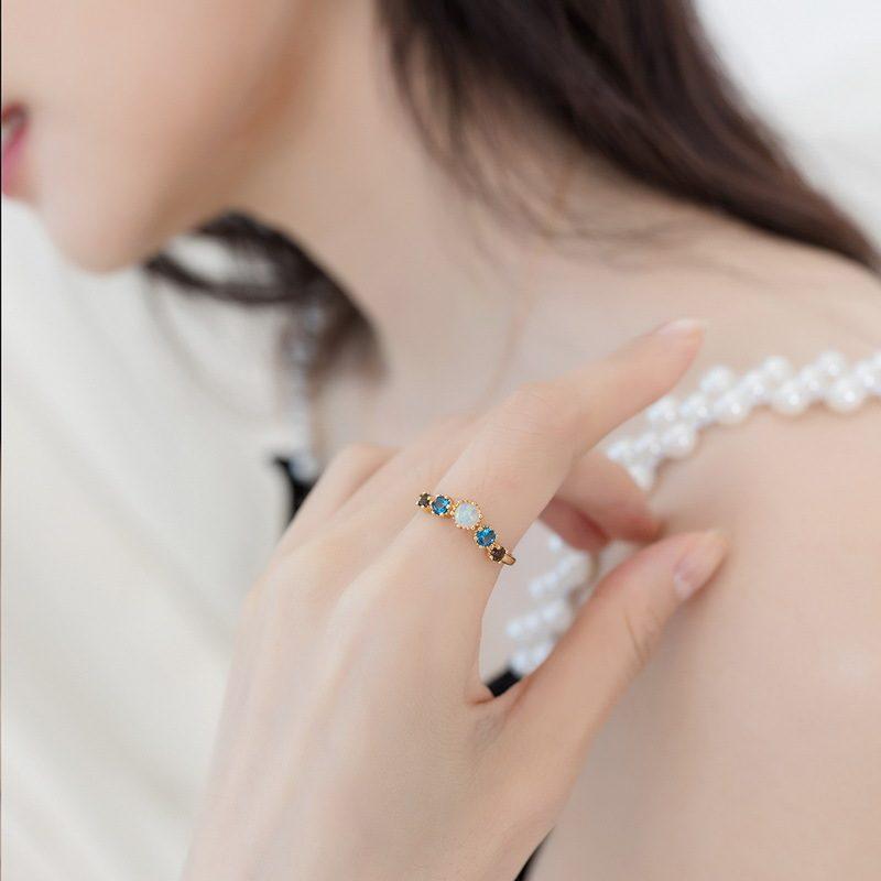 Nhẫn bạc mạ vàng đính đá Zircon đa sắc LILI_998648-05