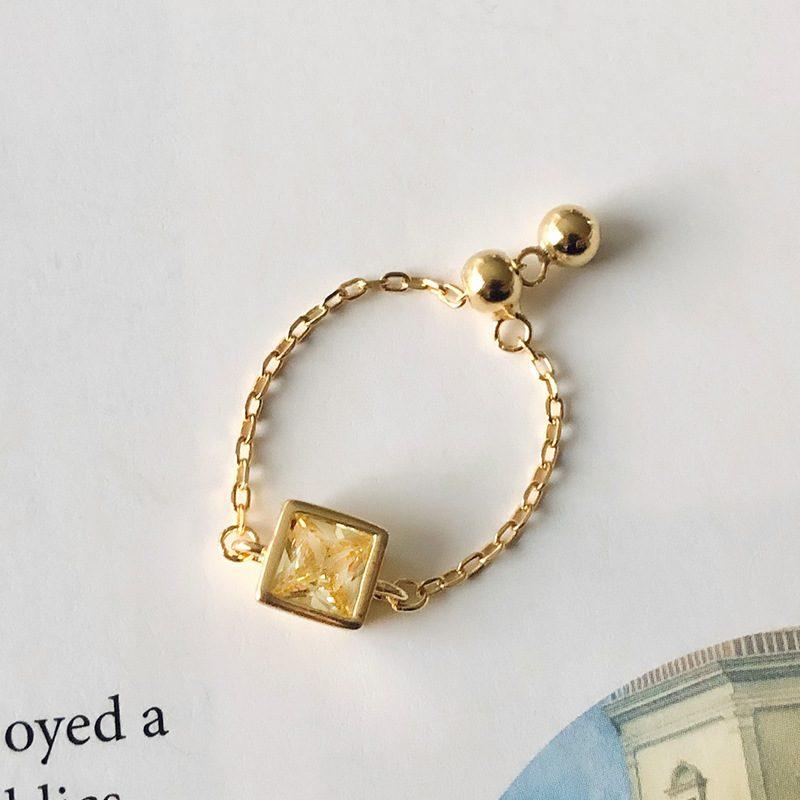 Nhẫn bạc mạ vàng đính đá Zircon dạng chuỗi LILI_153922-05