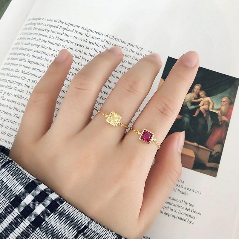 Nhẫn bạc mạ vàng đính đá Zircon dạng chuỗi LILI_153922-07