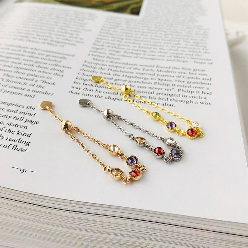 Nhẫn bạc mạ vàng đính đá Zircon dạng chuỗi hạt LILI_718514-01