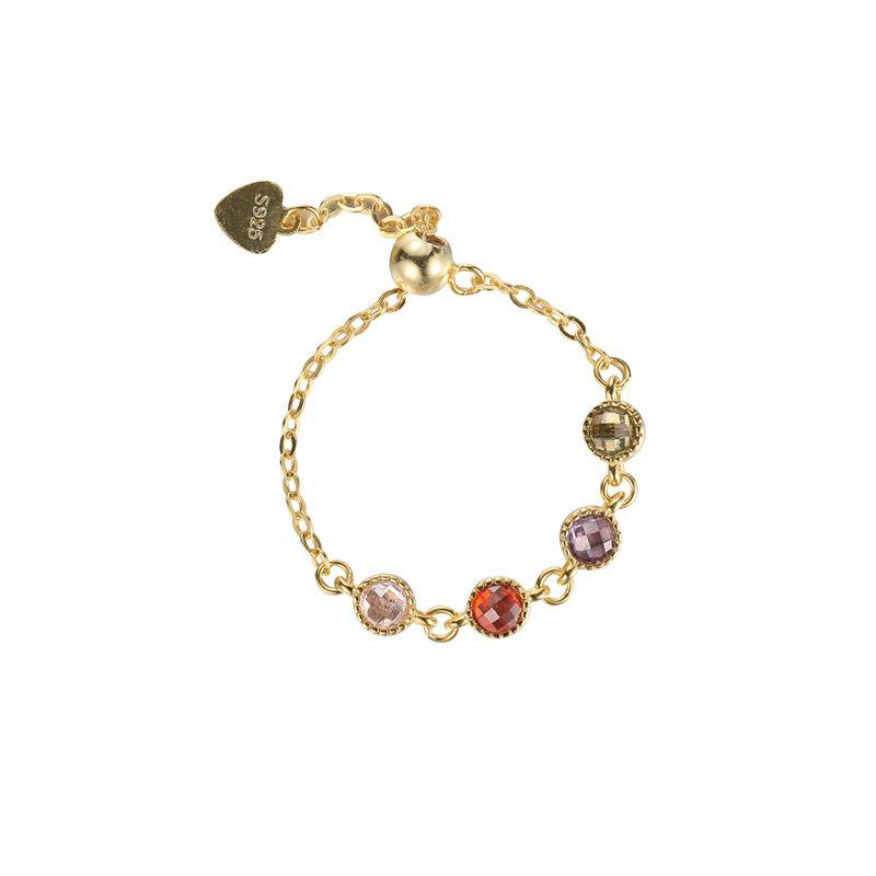 Nhẫn bạc mạ vàng đính đá Zircon dạng chuỗi hạt LILI_718514-03