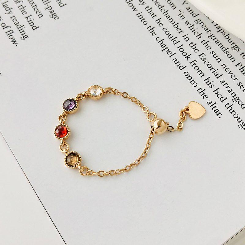Nhẫn bạc mạ vàng đính đá Zircon dạng chuỗi hạt LILI_718514-04