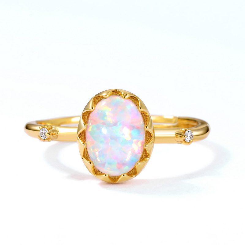 Nhẫn bạc mạ vàng đính đá Zircon hình quả trứng Opal LILI_637799-02
