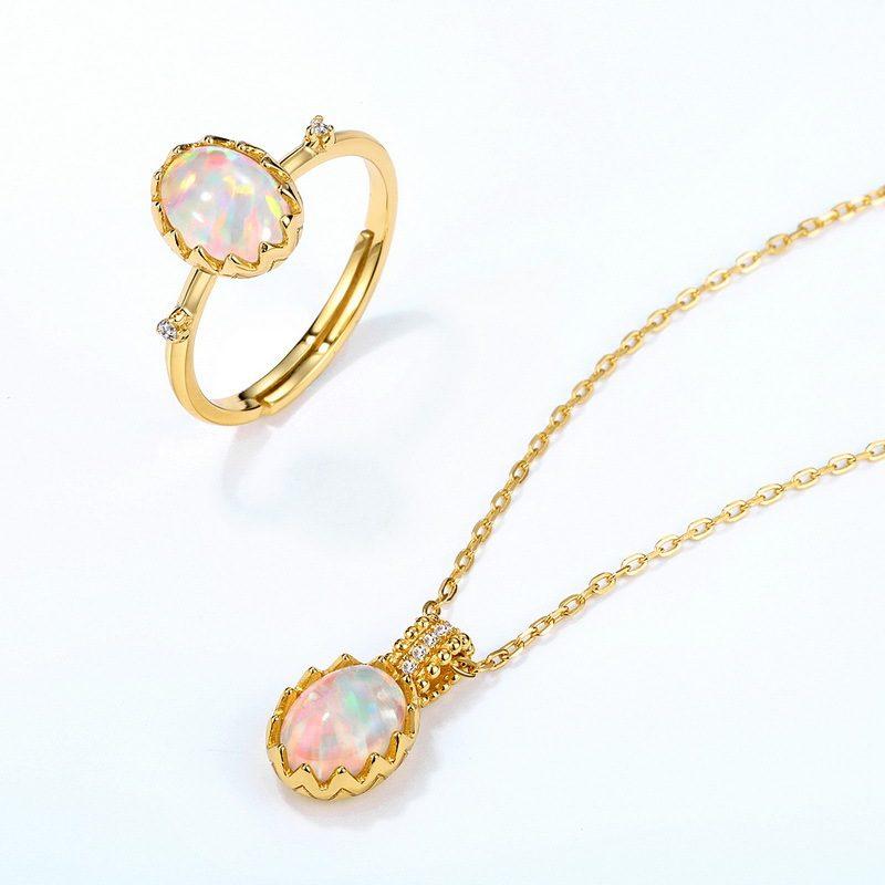 Nhẫn bạc mạ vàng đính đá Zircon hình quả trứng Opal LILI_637799-03