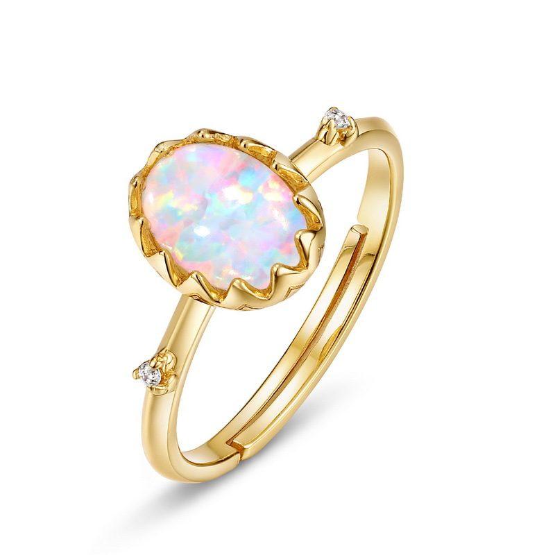 Nhẫn bạc mạ vàng đính đá Zircon hình quả trứng Opal LILI_637799-04
