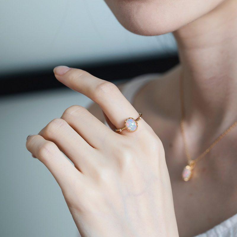 Nhẫn bạc mạ vàng đính đá Zircon hình quả trứng Opal LILI_637799-06