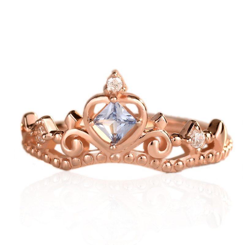 Nhẫn bạc mạ vàng đính đá Zircon hình vương miệng LILI_681979-01