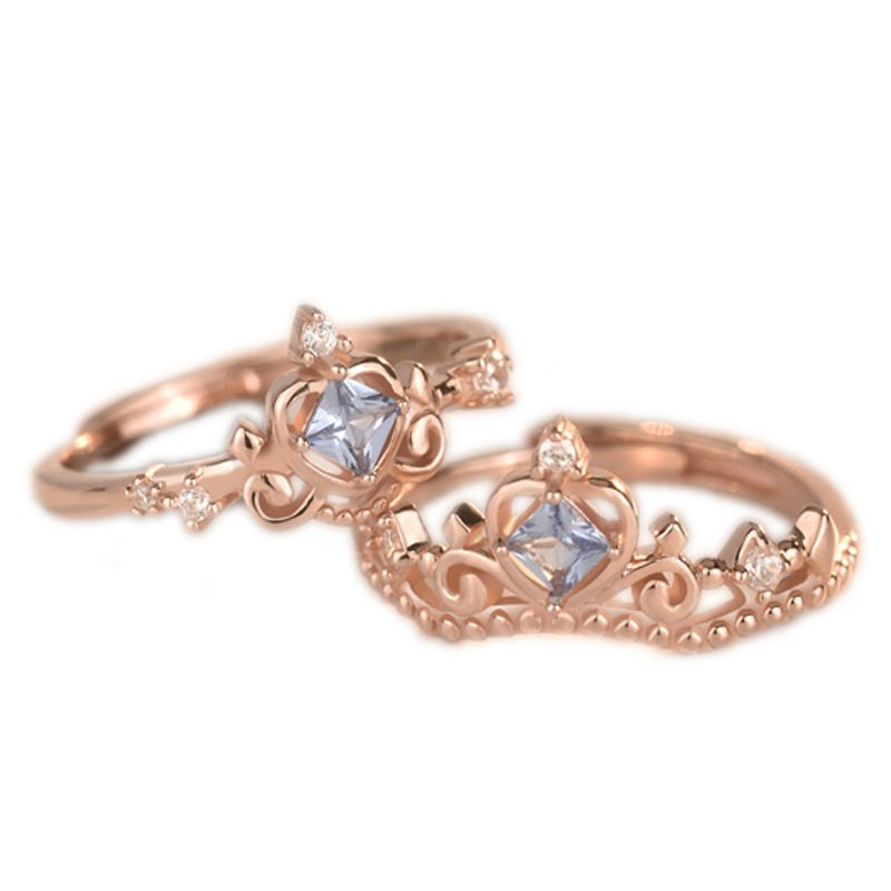 Nhẫn bạc mạ vàng đính đá Zircon hình vương miệng LILI_681979-02