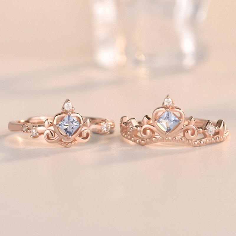 Nhẫn bạc mạ vàng đính đá Zircon hình vương miệng LILI_681979-03