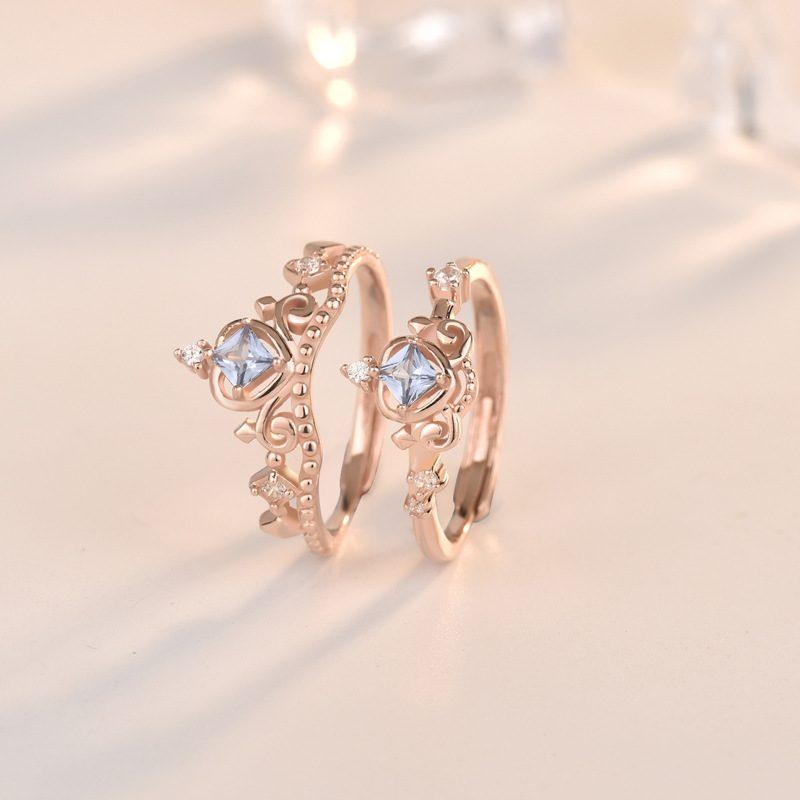 Nhẫn bạc mạ vàng đính đá Zircon hình vương miệng LILI_681979-04