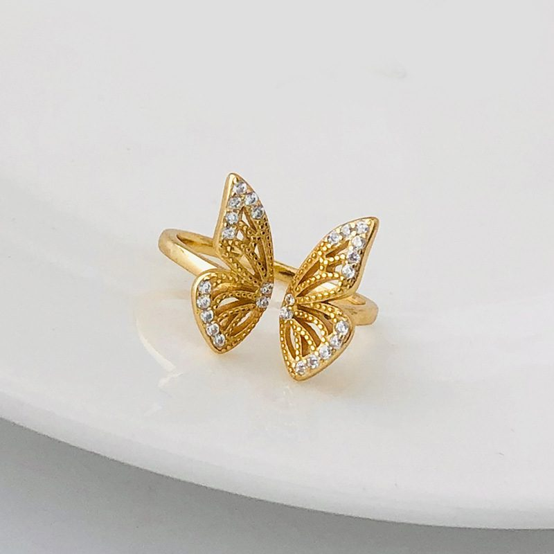 Nhẫn bạc mạ vàng hình con bướm LILI_182817-01