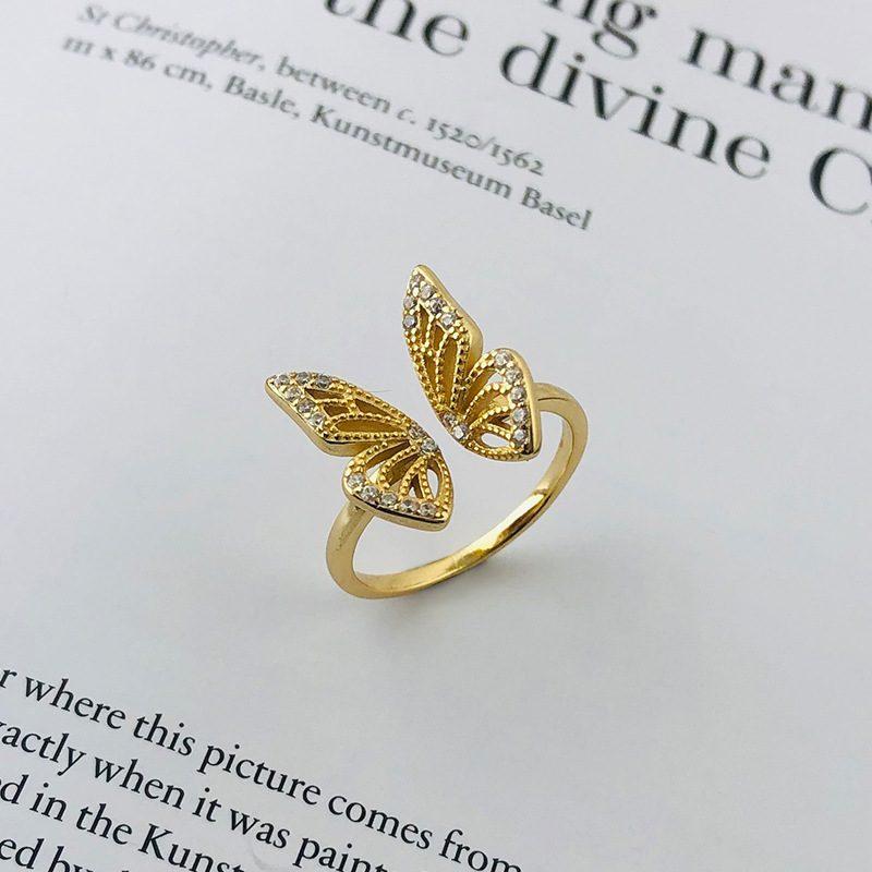 Nhẫn bạc mạ vàng hình con bướm LILI_182817-02