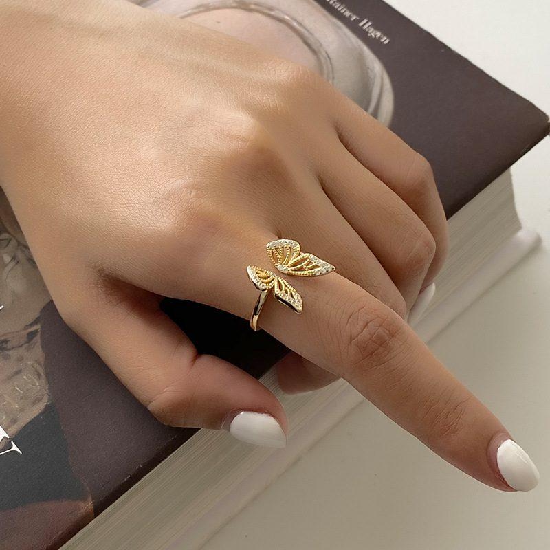 Nhẫn bạc mạ vàng hình con bướm LILI_182817-03