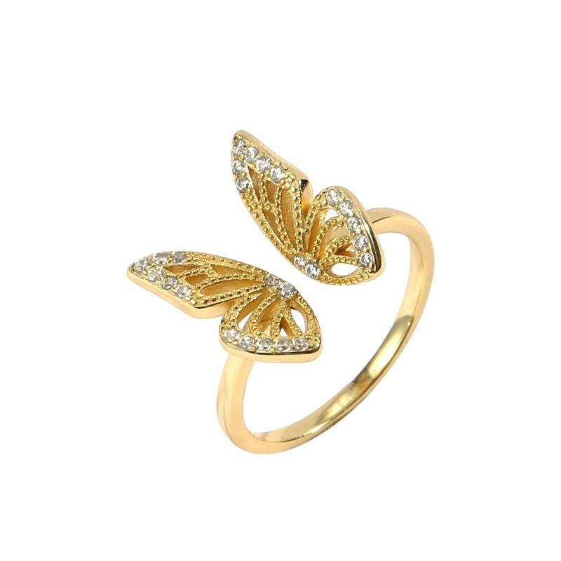 Nhẫn bạc mạ vàng hình con bướm LILI_182817-04