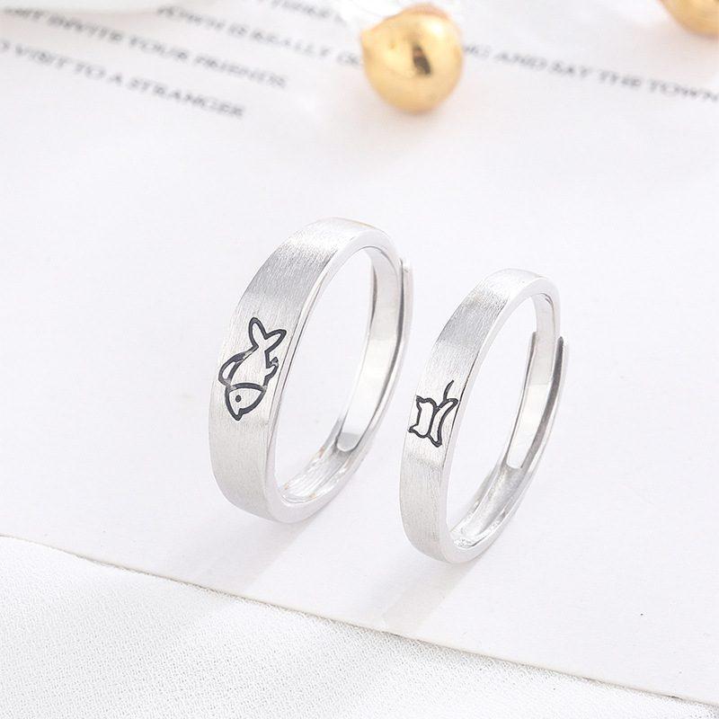 Nhẫn đôi bạc Mèo Cá LILI_331213-01
