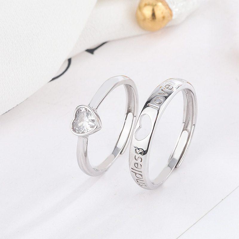 Nhẫn đôi bạc hình trái tim LILI_349761-01