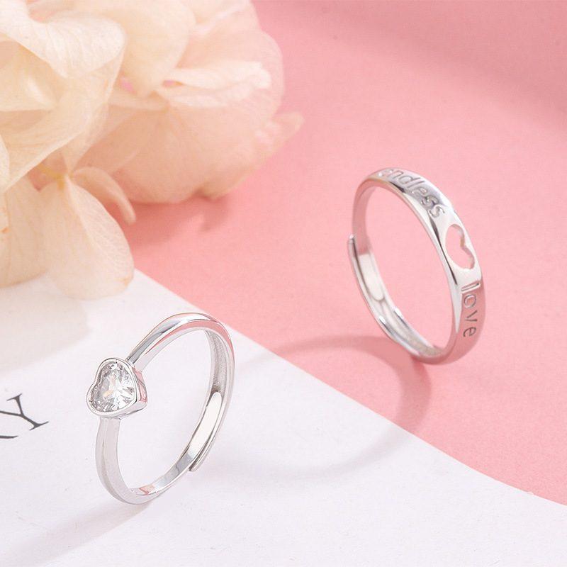 Nhẫn đôi bạc hình trái tim LILI_349761-02