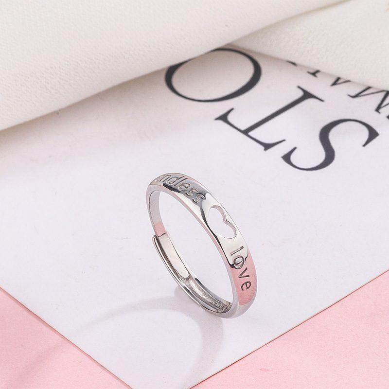 Nhẫn đôi bạc hình trái tim LILI_349761-03