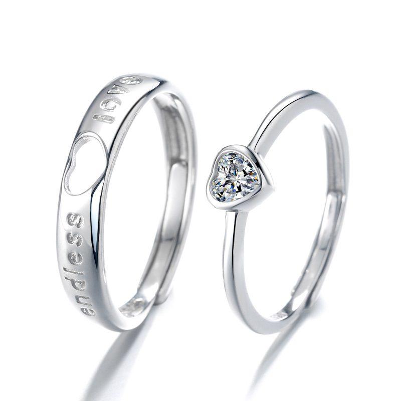 Nhẫn đôi bạc hình trái tim LILI_349761-05