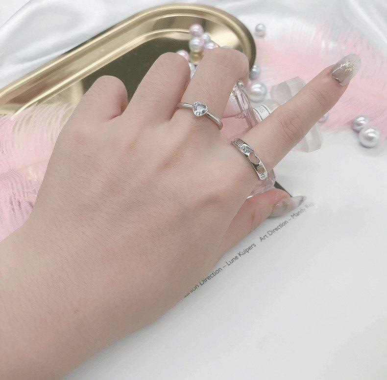 Nhẫn đôi bạc hình trái tim LILI_349761-06