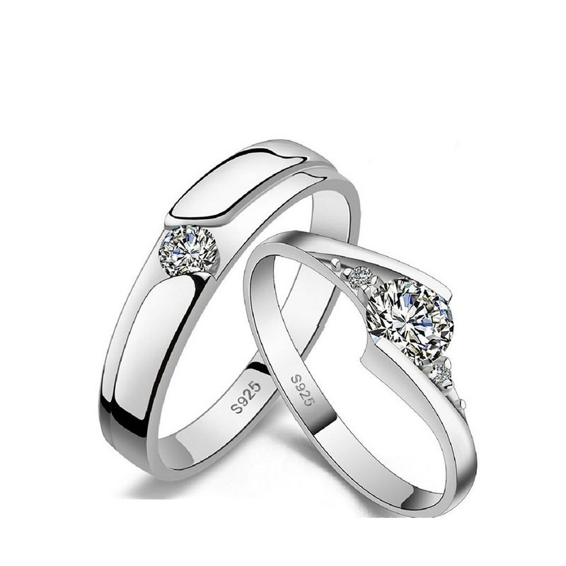 Nhẫn đôi bạc mạ bạc kim đính đá Zircon LILI_659937-01