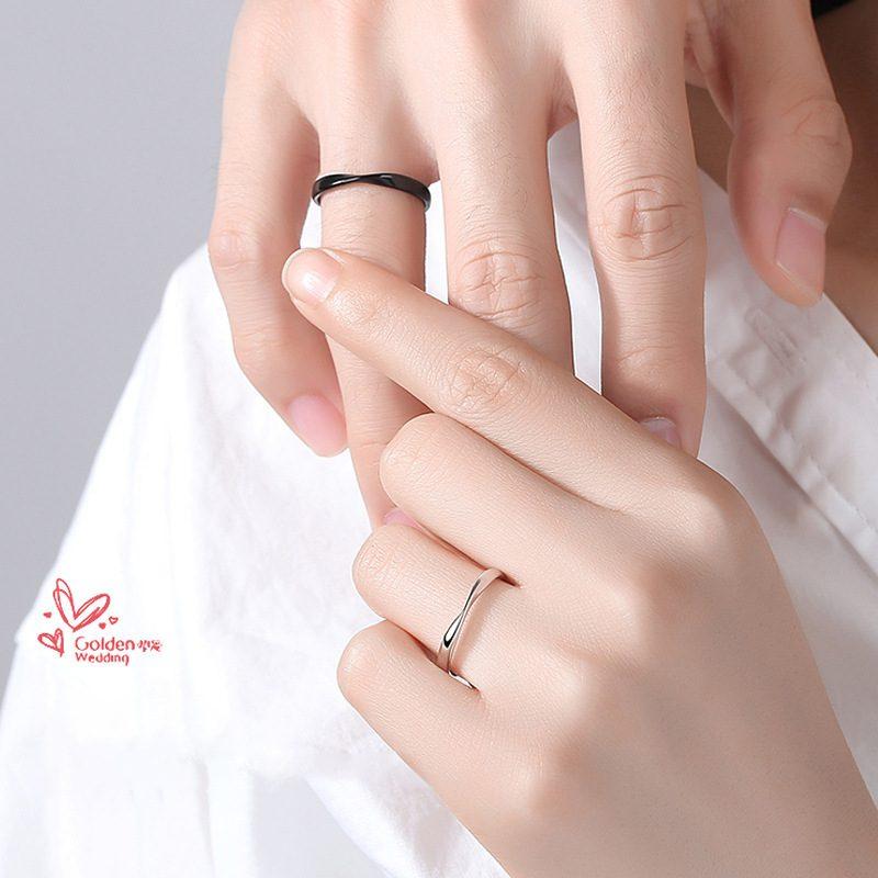 Nhẫn đôi bạc mạ bạch kim Black White LILI_778737-01