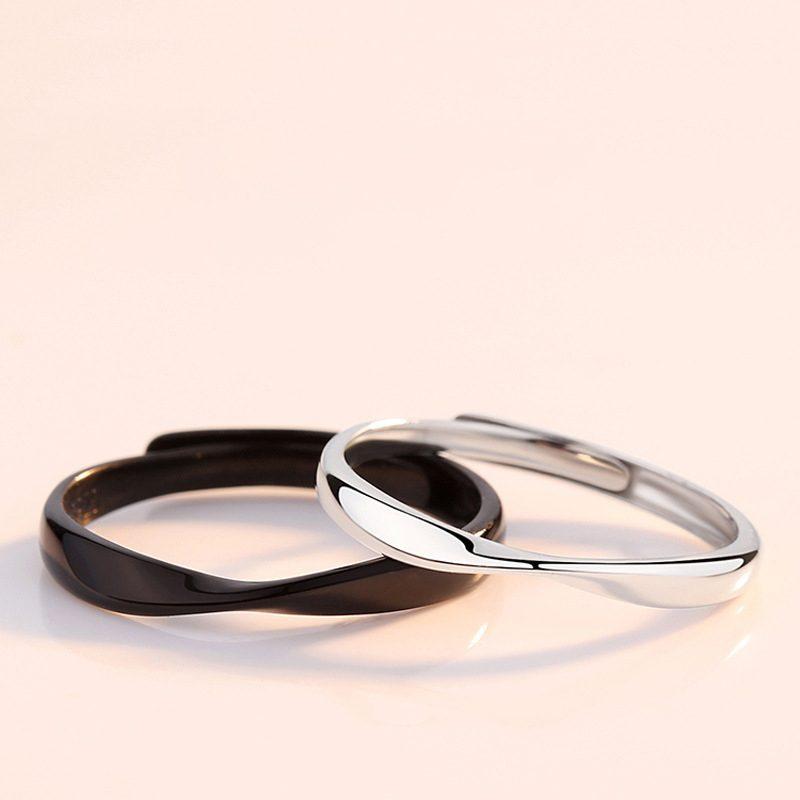 Nhẫn đôi bạc mạ bạch kim Black White LILI_778737-02