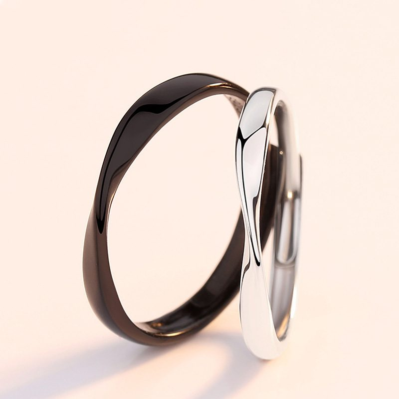 Nhẫn đôi bạc mạ bạch kim Black White LILI_778737-03