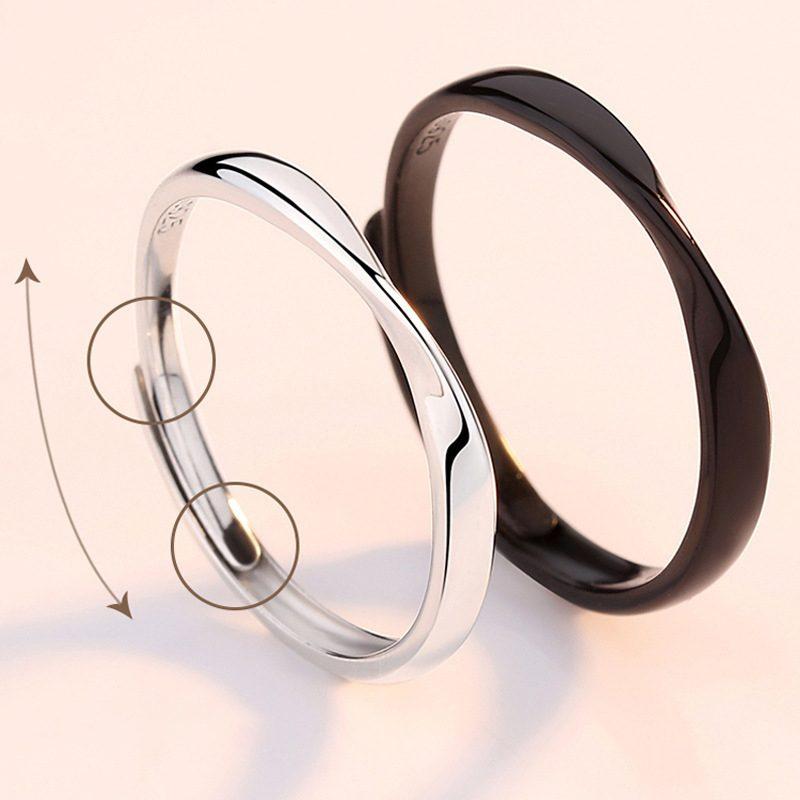 Nhẫn đôi bạc mạ bạch kim Black White LILI_778737-04