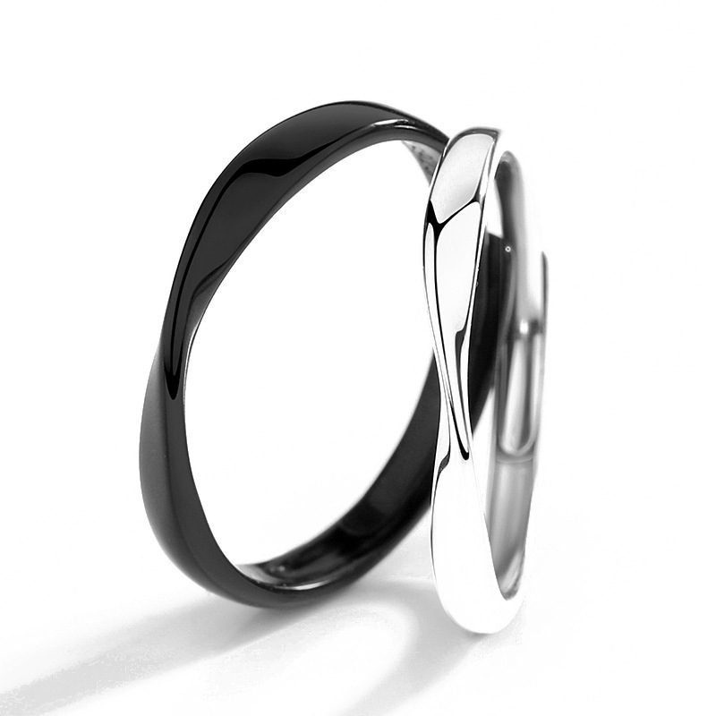 Nhẫn đôi bạc mạ bạch kim Black White LILI_778737-05