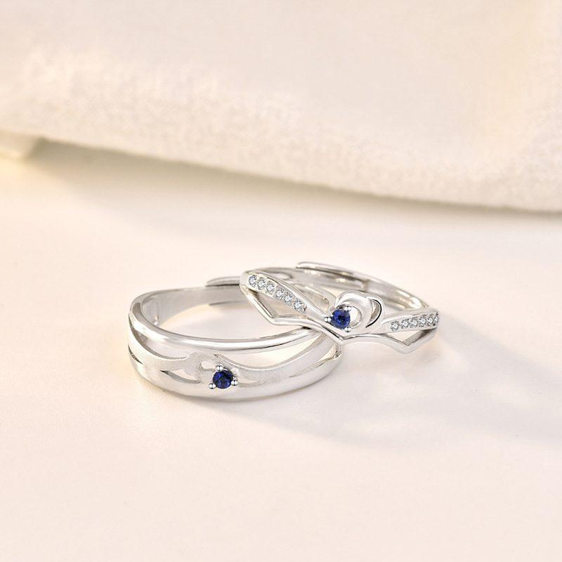 Nhẫn đôi bạc mạ bạch kim In Heaven LILI_314287-01