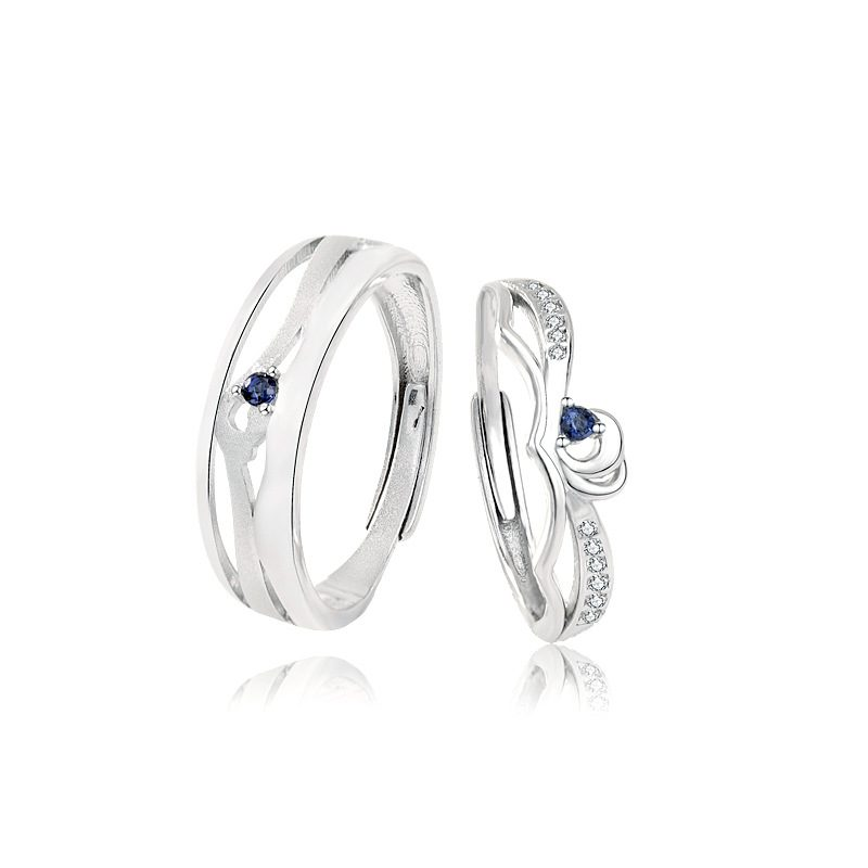 Nhẫn đôi bạc mạ bạch kim In Heaven LILI_314287-03