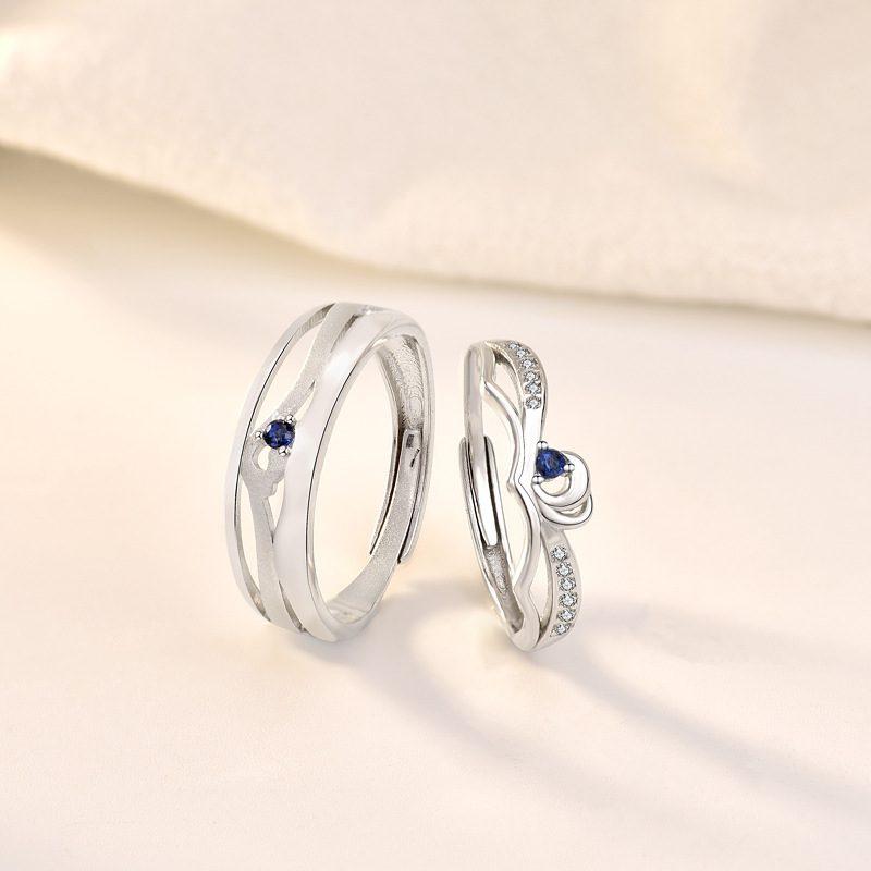 Nhẫn đôi bạc mạ bạch kim In Heaven LILI_314287-05