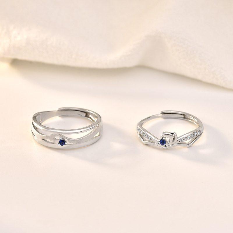 Nhẫn đôi bạc mạ bạch kim In Heaven LILI_314287-06