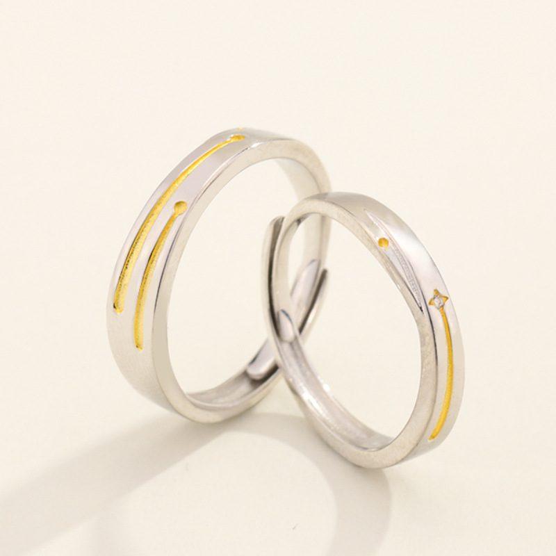Nhẫn đôi bạc mạ bạch kim Steel Heart LILI_137232-07