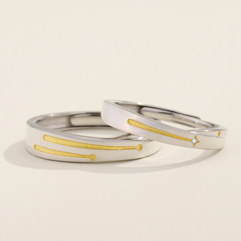 Nhẫn đôi bạc mạ bạch kim Steel Heart LILI_137232-09