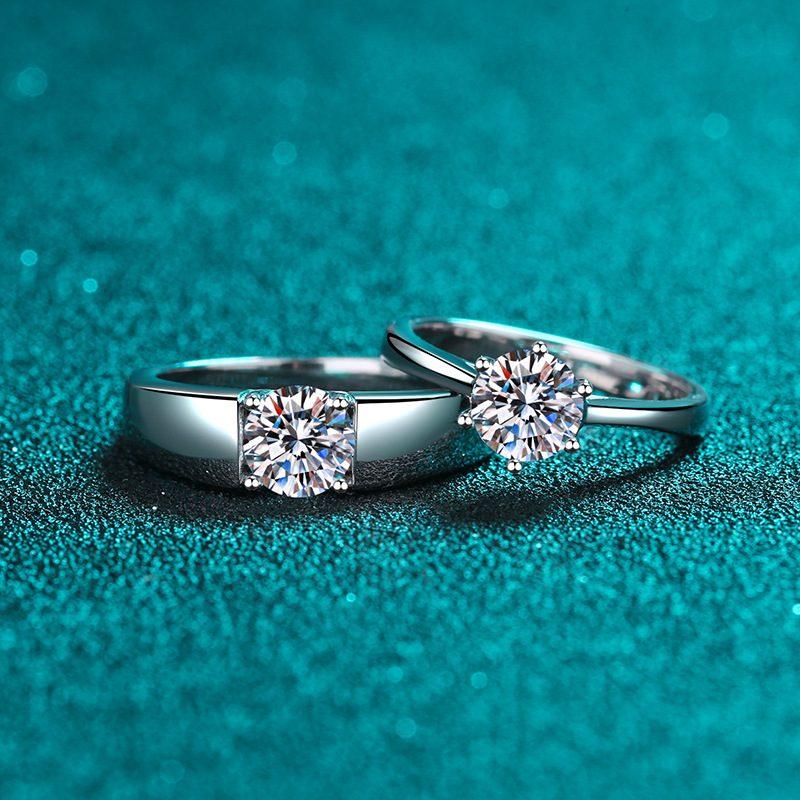 Nhẫn đôi bạc mạ bạch kim đính đá Mossanite 1 carat LILI_124837-01