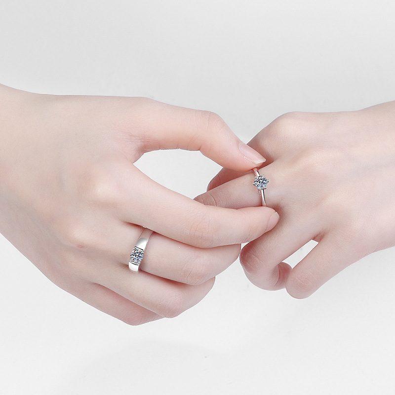 Nhẫn đôi bạc mạ bạch kim đính đá Mossanite 1 carat LILI_124837-03