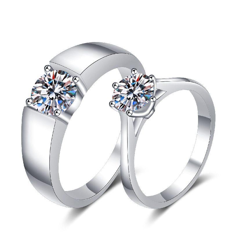 Nhẫn đôi bạc mạ bạch kim đính đá Mossanite 1 carat LILI_124837-04