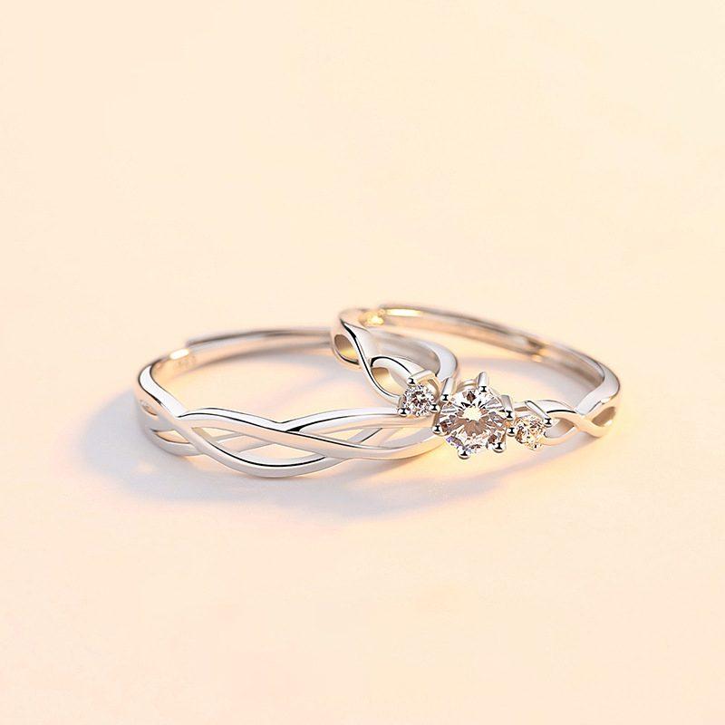 Nhẫn đôi bạc mạ bạch kim đính đá Zircon Little Heart LILI_823883-01