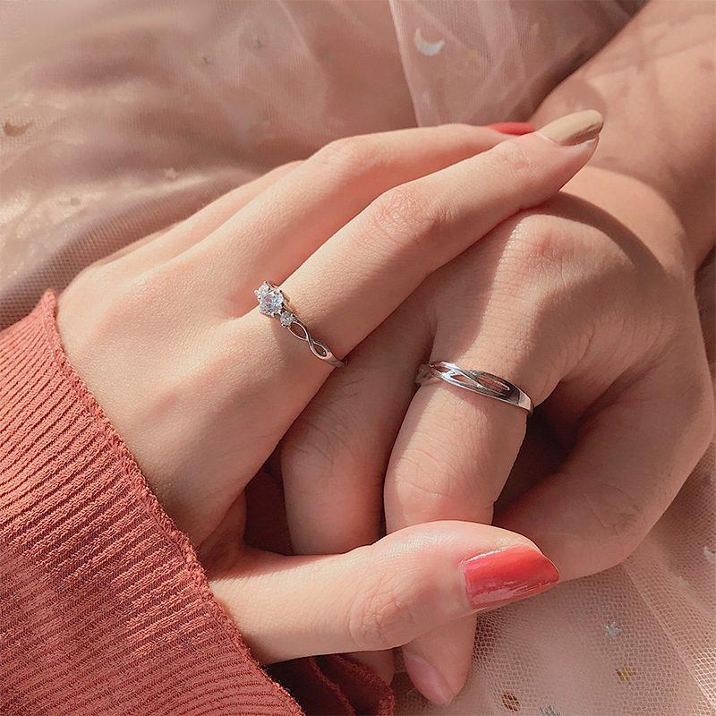 Nhẫn đôi bạc mạ bạch kim đính đá Zircon Little Heart LILI_823883-02