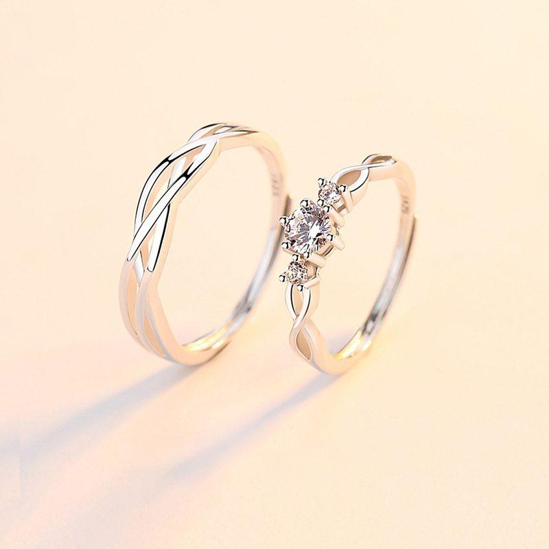 Nhẫn đôi bạc mạ bạch kim đính đá Zircon Little Heart LILI_823883-03