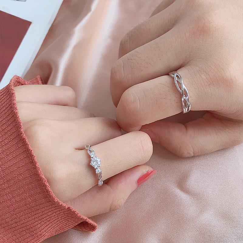 Nhẫn đôi bạc mạ bạch kim đính đá Zircon Little Heart LILI_823883-04
