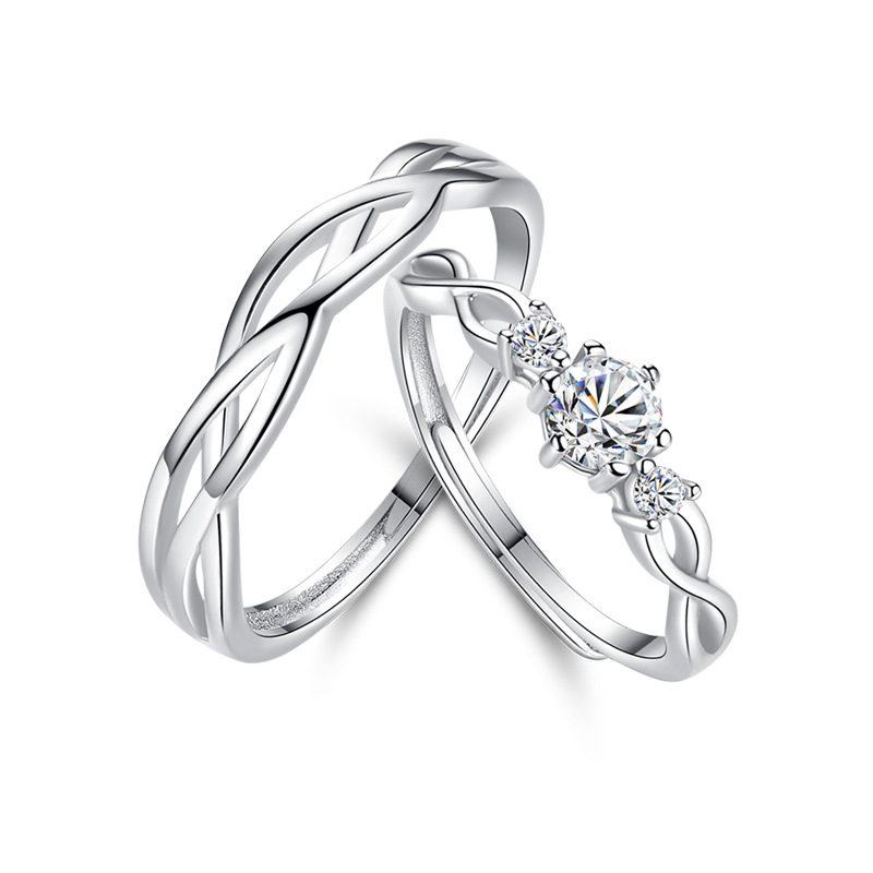 Nhẫn đôi bạc mạ bạch kim đính đá Zircon Little Heart LILI_823883-05