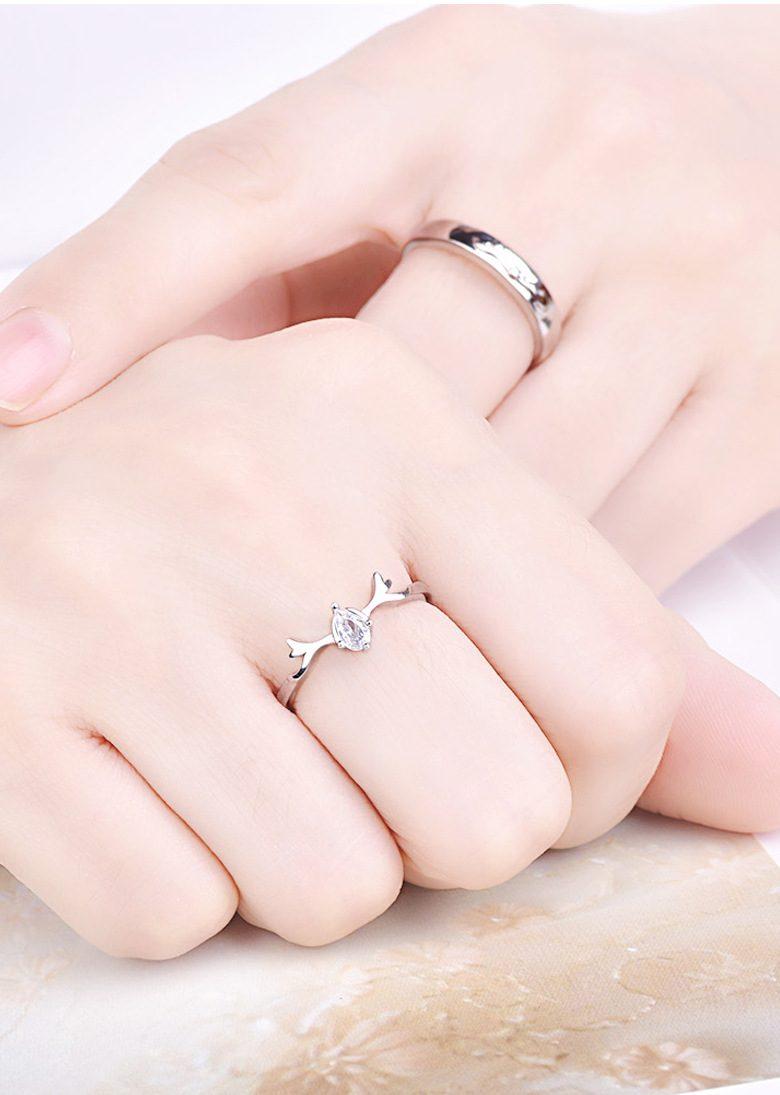 Nhẫn đôi bạc mạ bạch kim đính đá Zircon Sừng tuần lộc LILI_548791-01